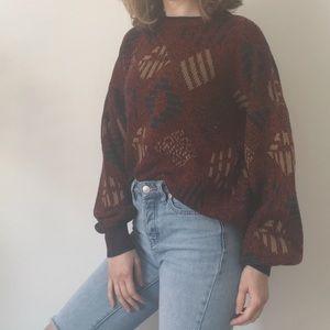 Vintage Burgundy Puff Sleeve Sweater